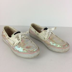 Sperry Bahama Sparkly Sequined Boat Shoes Sz 7